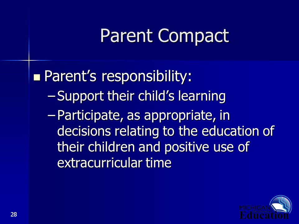 28 Parent Compact Parent's responsibility: Parent's responsibility: –Support their child's learning –Participate, as appropriate, in decisions relating to the education of their children and positive use of extracurricular time