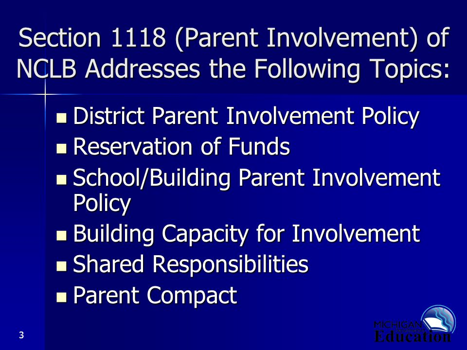 3 Section 1118 (Parent Involvement) of NCLB Addresses the Following Topics: District Parent Involvement Policy District Parent Involvement Policy Reservation of Funds Reservation of Funds School/Building Parent Involvement Policy School/Building Parent Involvement Policy Building Capacity for Involvement Building Capacity for Involvement Shared Responsibilities Shared Responsibilities Parent Compact Parent Compact
