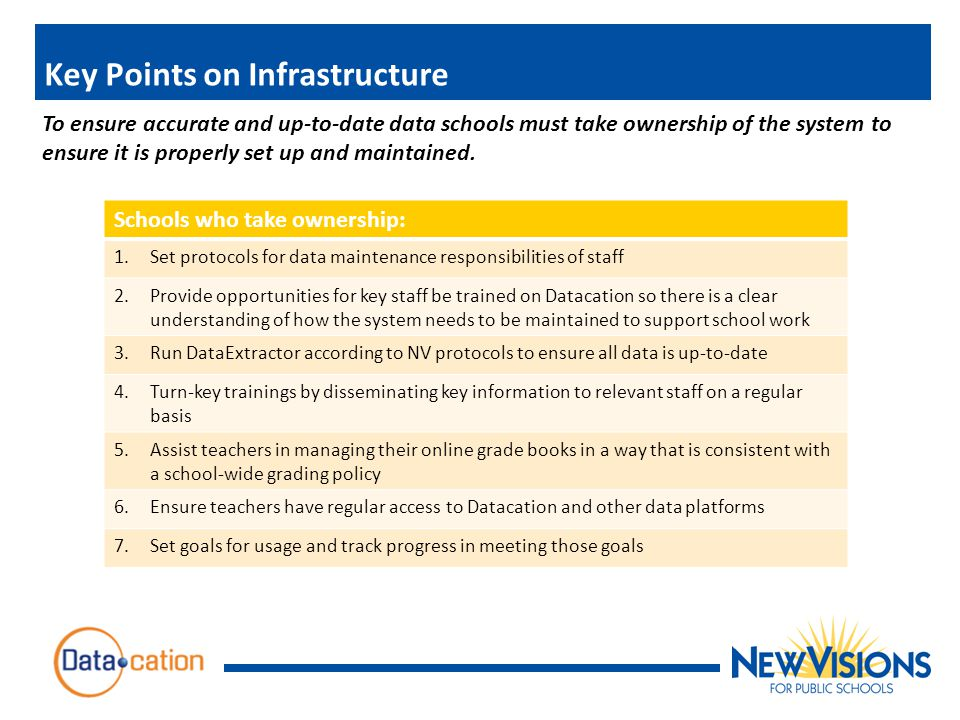 Key Points on Infrastructure To ensure accurate and up-to-date data schools must take ownership of the system to ensure it is properly set up and maintained.