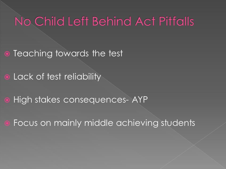  Teaching towards the test  Lack of test reliability  High stakes consequences- AYP  Focus on mainly middle achieving students