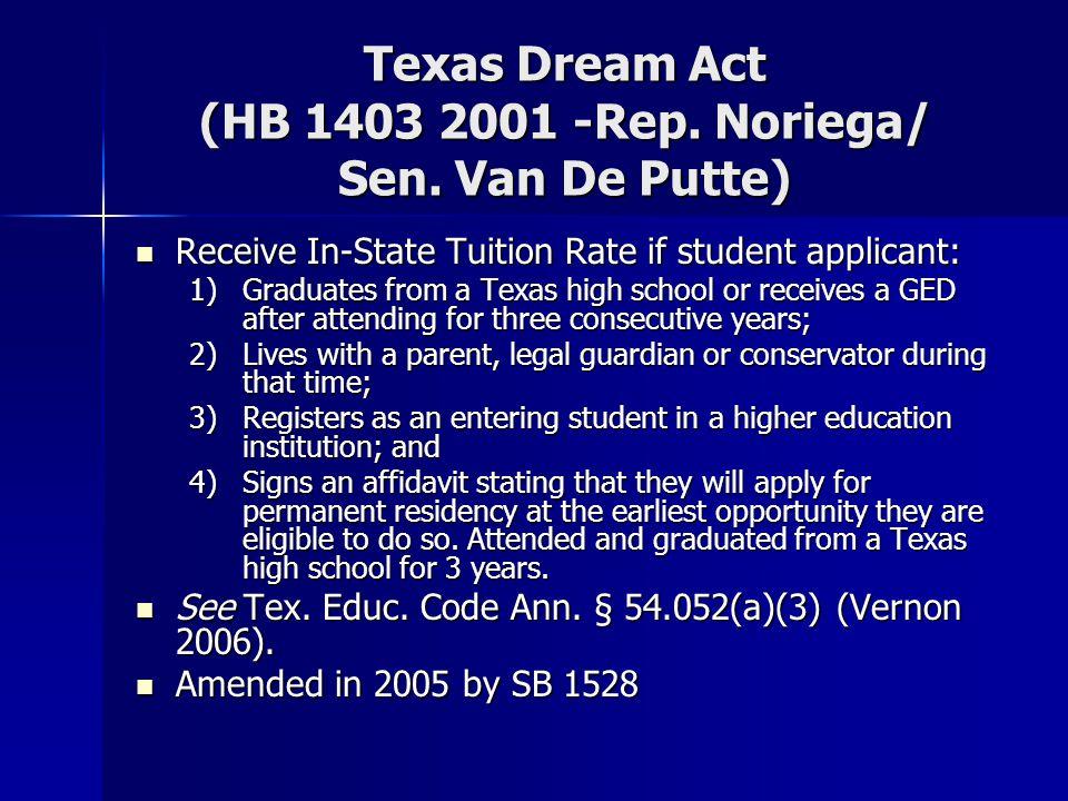Texas Dream Act (HB 1403 2001 -Rep. Noriega/ Sen. Van De Putte) Receive In-State Tuition Rate if student applicant: Receive In-State Tuition Rate if s