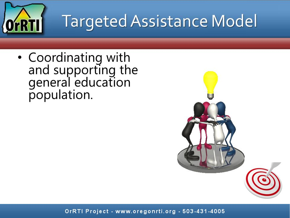 Coordinating with and supporting the general education population. Targeted Assistance Model