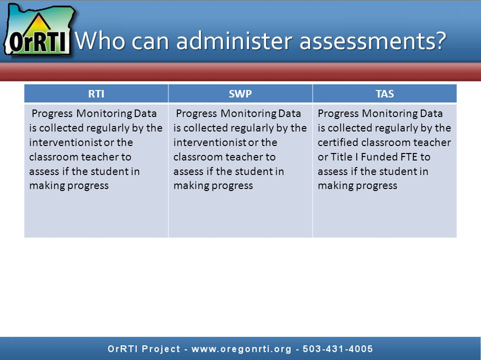 Who can administer assessments.