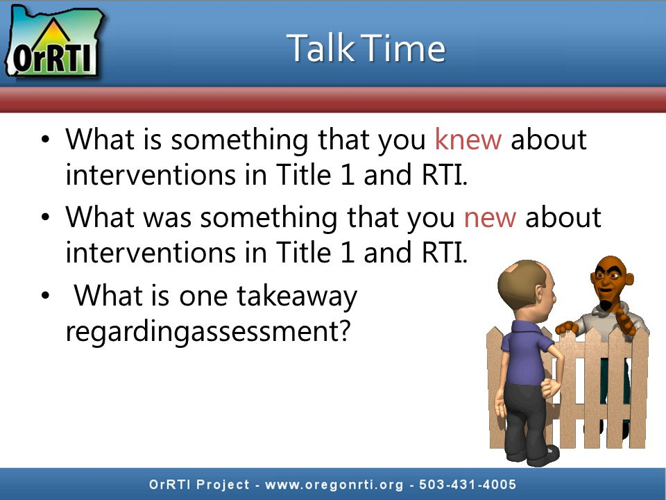 Talk Time What is something that you knew about interventions in Title 1 and RTI.