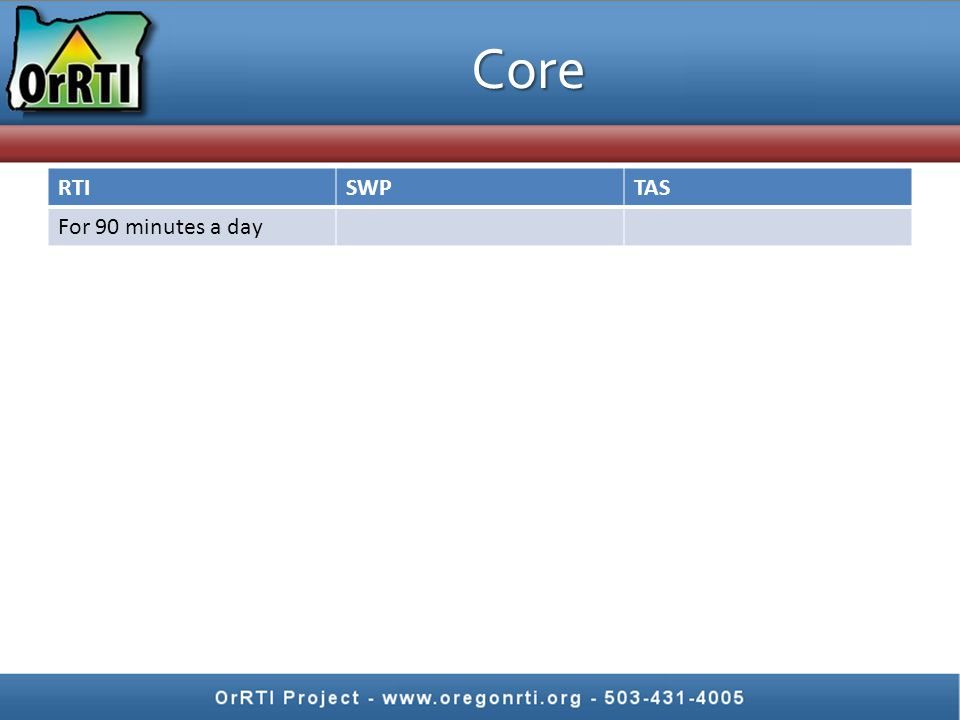 Core RTISWPTAS For 90 minutes a day