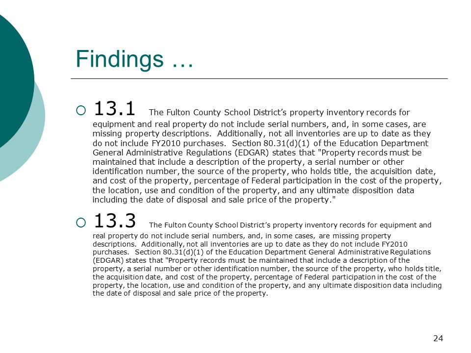 Findings (continued)  8.4 Five Fulton County Targeted Assistance plans were randomly selected to discern whether or not the schools use student achievement data to make instructional decisions and coordinate with the regular program.