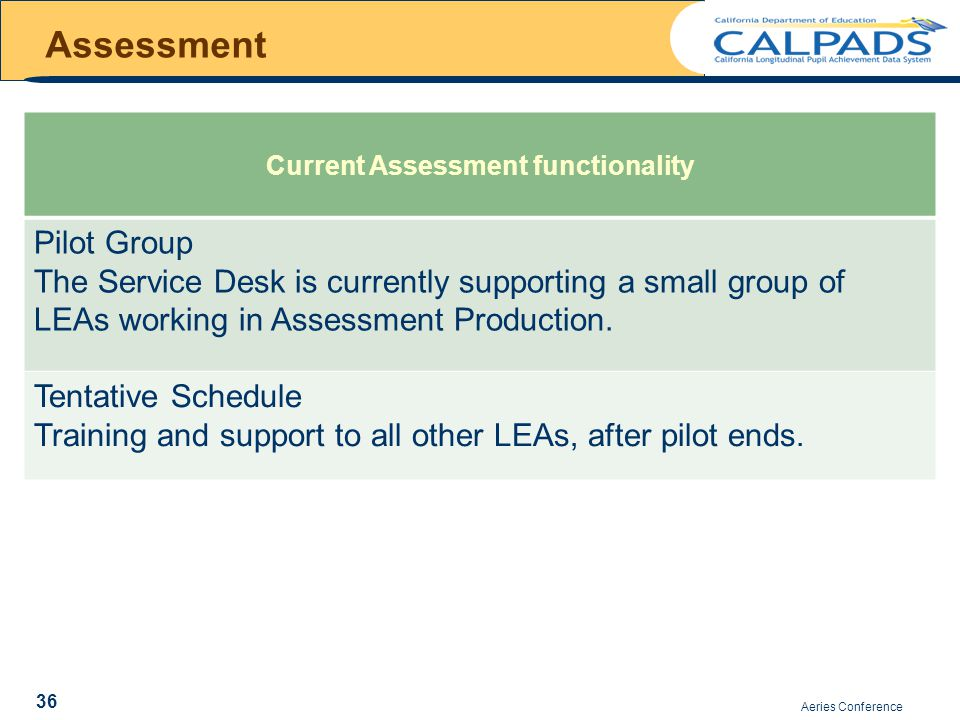 Assessment Aeries Conference 36 Current Assessment functionality Pilot Group The Service Desk is currently supporting a small group of LEAs working in Assessment Production.