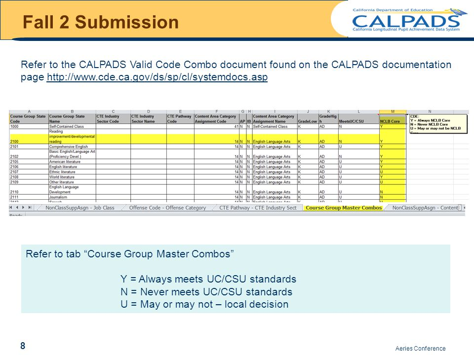 Aeries Conference Assessment in CALPADS 29