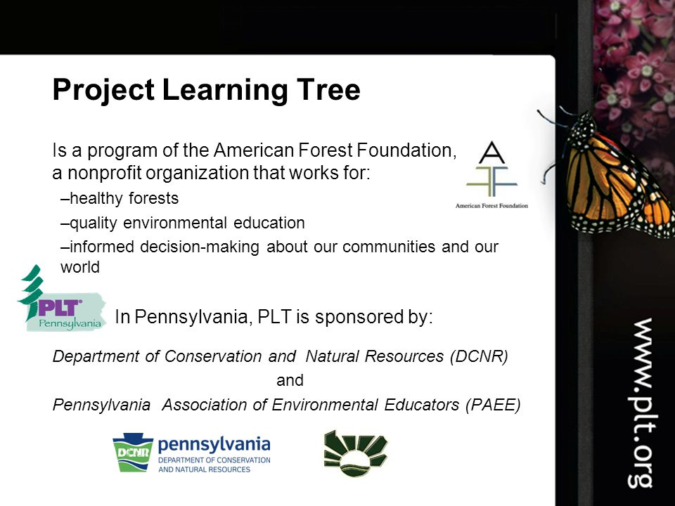 Project Learning Tree Is a program of the American Forest Foundation, a nonprofit organization that works for: –healthy forests –quality environmental education –informed decision-making about our communities and our world In Pennsylvania, PLT is sponsored by: Department of Conservation and Natural Resources (DCNR) and Pennsylvania Association of Environmental Educators (PAEE)