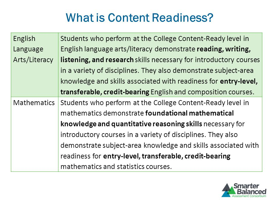 What is Content Readiness? English Language Arts/Literacy Students who perform at the College Content-Ready level in English language arts/literacy de