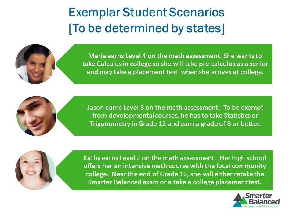 Exemplar Student Scenarios [To be determined by states] Maria earns Level 4 on the math assessment. She wants to take Calculus in college so she will