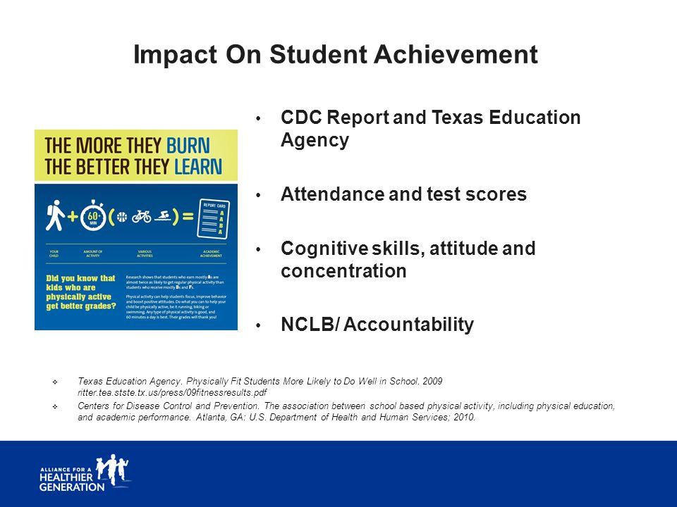 Impact On Student Achievement CDC Report and Texas Education Agency Attendance and test scores Cognitive skills, attitude and concentration NCLB/ Acco