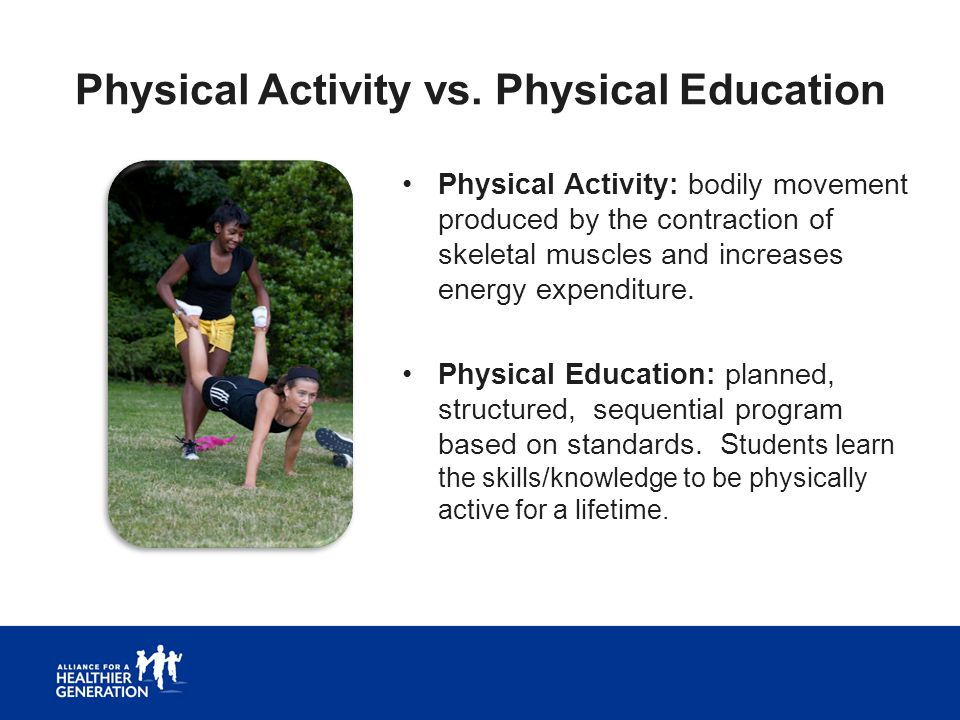 Physical Activity vs. Physical Education Physical Activity: bodily movement produced by the contraction of skeletal muscles and increases energy expen