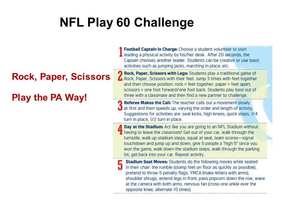 Rock, Paper, Scissors Play the PA Way! NFL Play 60 Challenge