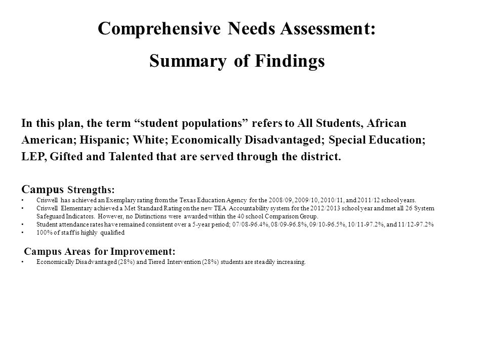Comprehensive Needs Assessment: Summary of Findings In this plan, the term student populations refers to All Students, African American; Hispanic; White; Economically Disadvantaged; Special Education; LEP, Gifted and Talented that are served through the district.