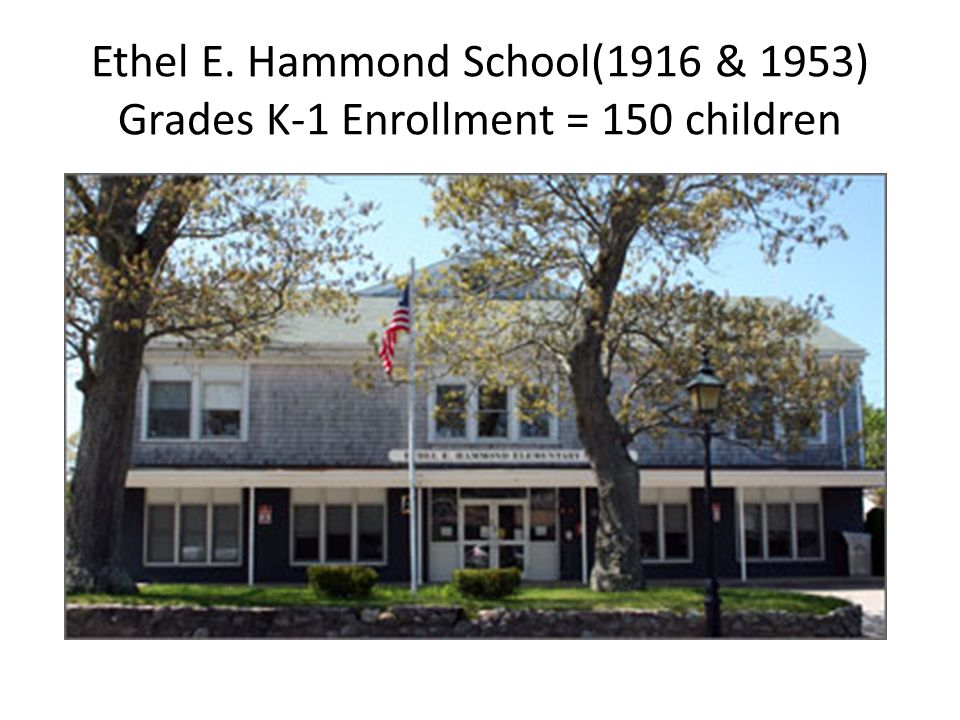 Ethel E. Hammond School(1916 & 1953) Grades K-1 Enrollment = 150 children