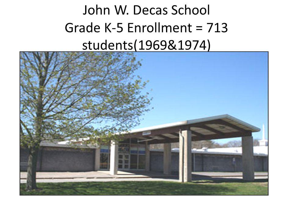 John W. Decas School Grade K-5 Enrollment = 713 students(1969&1974)