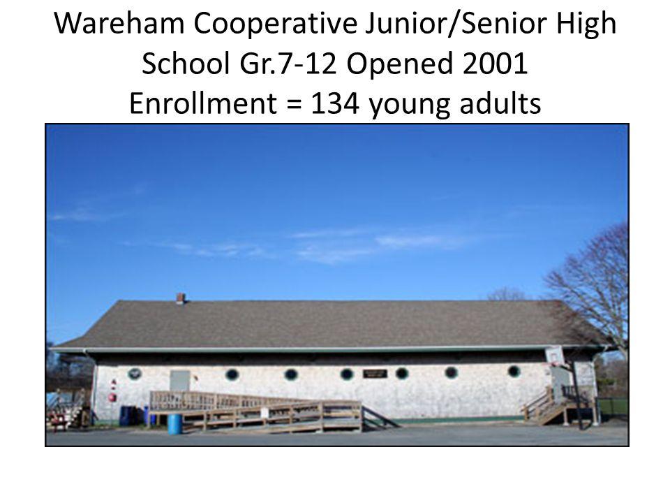Wareham Cooperative Junior/Senior High School Gr.7-12 Opened 2001 Enrollment = 134 young adults