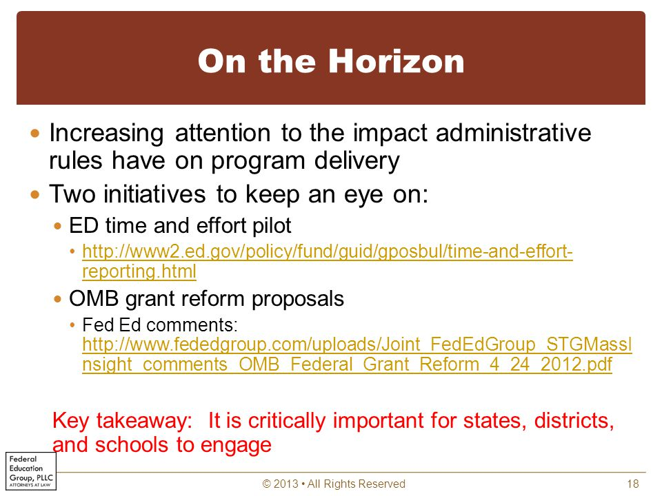 On the Horizon Increasing attention to the impact administrative rules have on program delivery Two initiatives to keep an eye on: ED time and effort pilot http://www2.ed.gov/policy/fund/guid/gposbul/time-and-effort- reporting.htmlhttp://www2.ed.gov/policy/fund/guid/gposbul/time-and-effort- reporting.html OMB grant reform proposals Fed Ed comments: http://www.fededgroup.com/uploads/Joint_FedEdGroup_STGMassI nsight_comments_OMB_Federal_Grant_Reform_4_24_2012.pdf http://www.fededgroup.com/uploads/Joint_FedEdGroup_STGMassI nsight_comments_OMB_Federal_Grant_Reform_4_24_2012.pdf Key takeaway: It is critically important for states, districts, and schools to engage © 2013 All Rights Reserved18