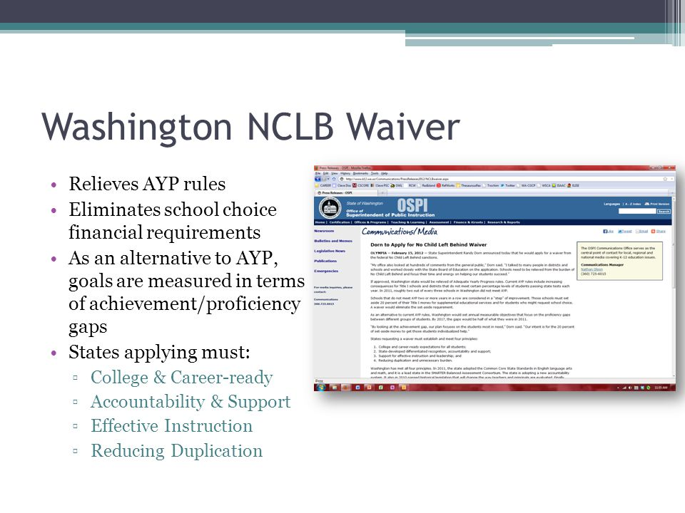 Washington NCLB Waiver Relieves AYP rules Eliminates school choice financial requirements As an alternative to AYP, goals are measured in terms of achievement/proficiency gaps States applying must: ▫College & Career-ready ▫Accountability & Support ▫Effective Instruction ▫Reducing Duplication
