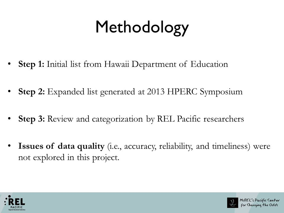 Methodology Step 1: Initial list from Hawaii Department of Education Step 2: Expanded list generated at 2013 HPERC Symposium Step 3: Review and catego