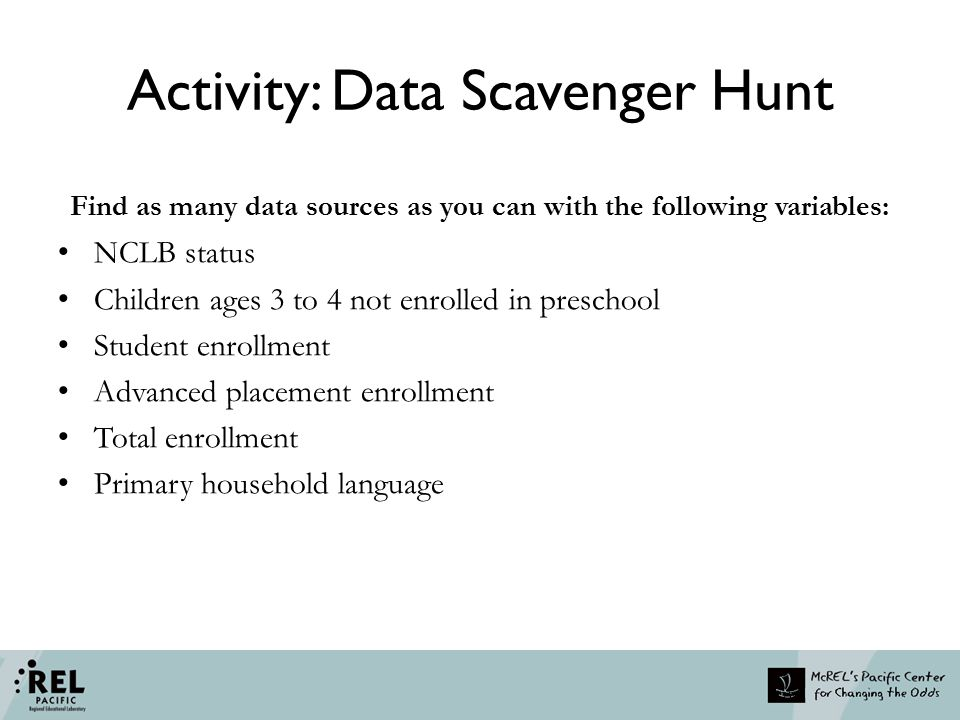 Activity: Data Scavenger Hunt Find as many data sources as you can with the following variables: NCLB status Children ages 3 to 4 not enrolled in pres