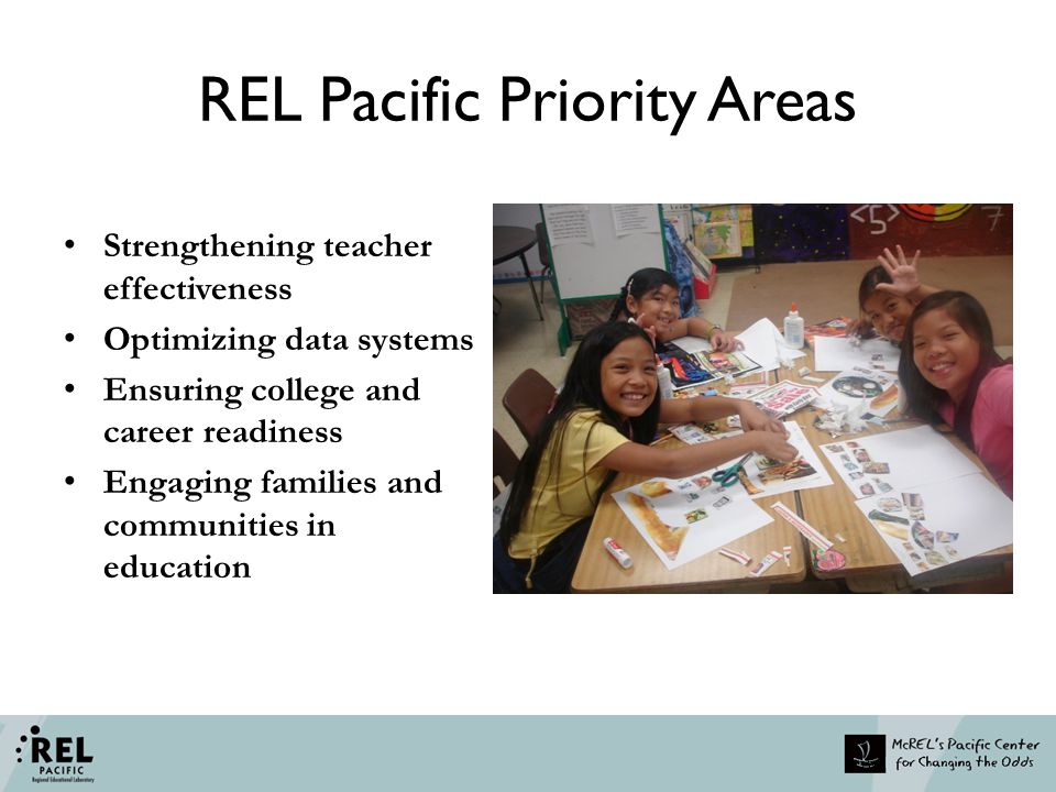 REL Pacific Research Alliances Teacher Effectiveness & Optimizing Data Systems FSM Research Alliance Marshall Islands Research Alliance Palau Research Alliance College & Career Readiness American Samoa Alliance CNMI Alliance Family and Community Engagement Guam Alliance Optimizing Data Hawaii Partnership for Educational Research Consortium