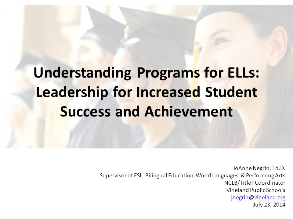 Content Objectives To understand how case law and state and federal code shape our programs for ELLs To develop strategies for dealing with common situations with ELLs that you will encounter as a principal To build awareness of resources at your disposal