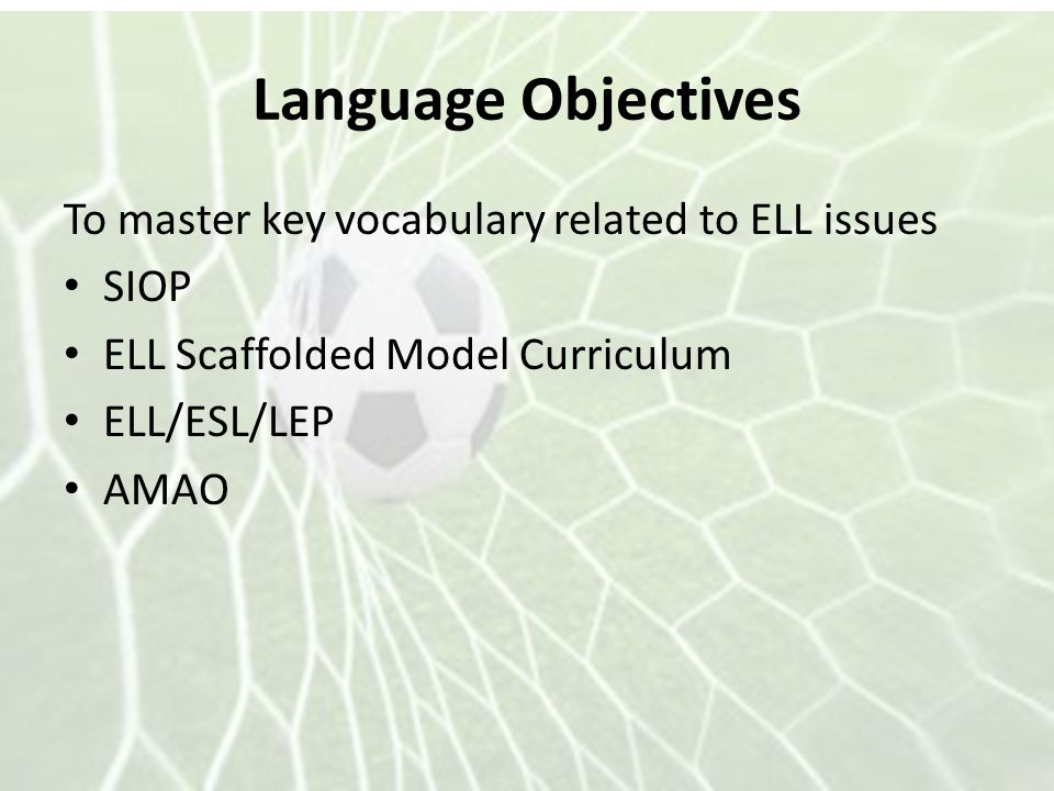 Language Objectives To master key vocabulary related to ELL issues SIOP ELL Scaffolded Model Curriculum ELL/ESL/LEP AMAO