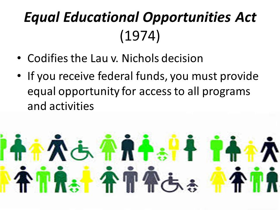 Equal Educational Opportunities Act (1974) Codifies the Lau v.