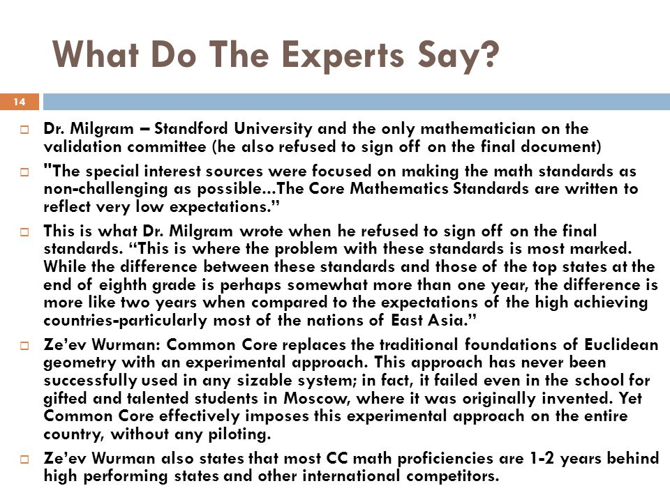 What Do The Experts Say.  Dr.