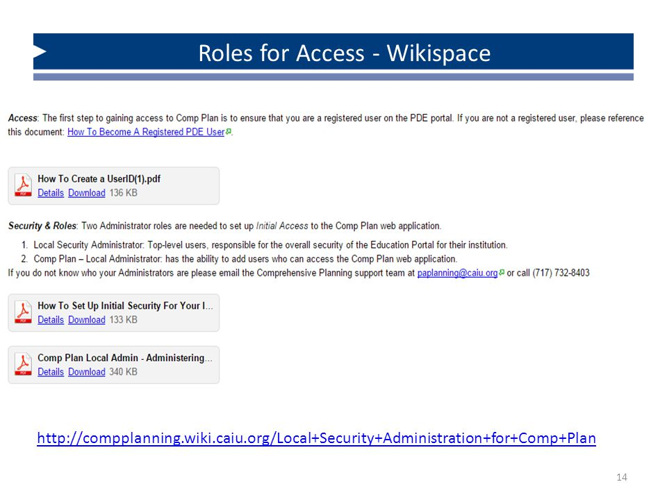 14 http://compplanning.wiki.caiu.org/Local+Security+Administration+for+Comp+Plan Roles for Access - Wikispace