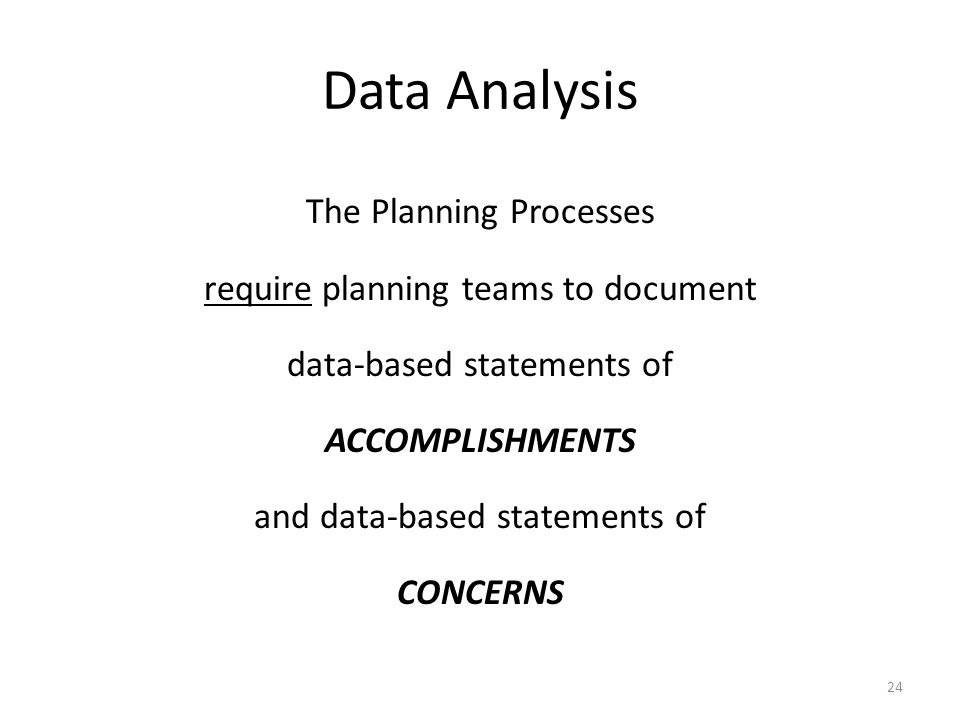 Data Analysis The Planning Processes require planning teams to document data-based statements of ACCOMPLISHMENTS and data-based statements of CONCERNS 24
