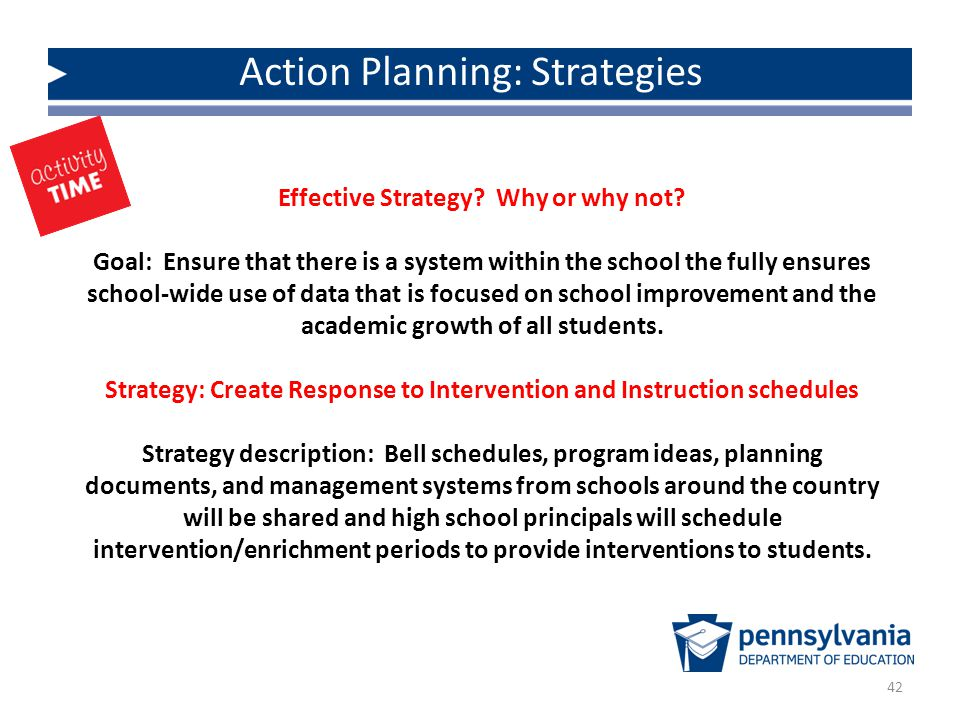 Action Planning: Strategies 42 Effective Strategy.