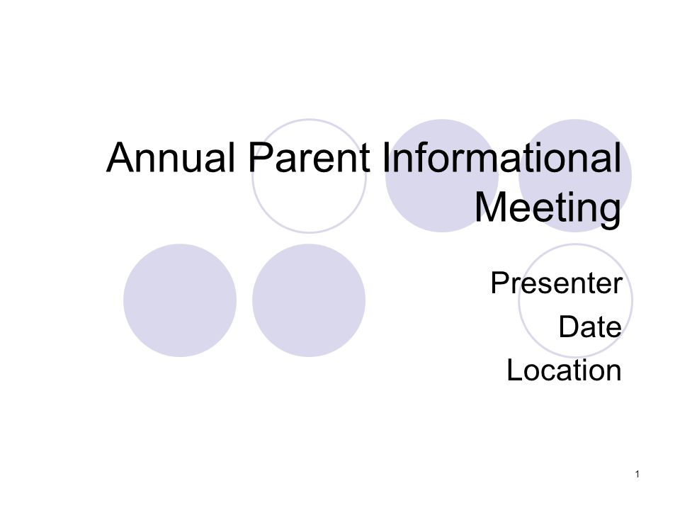 Annual Parent Informational Meeting Presenter Date Location 1