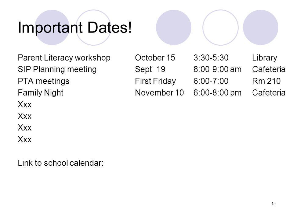 Important Dates.