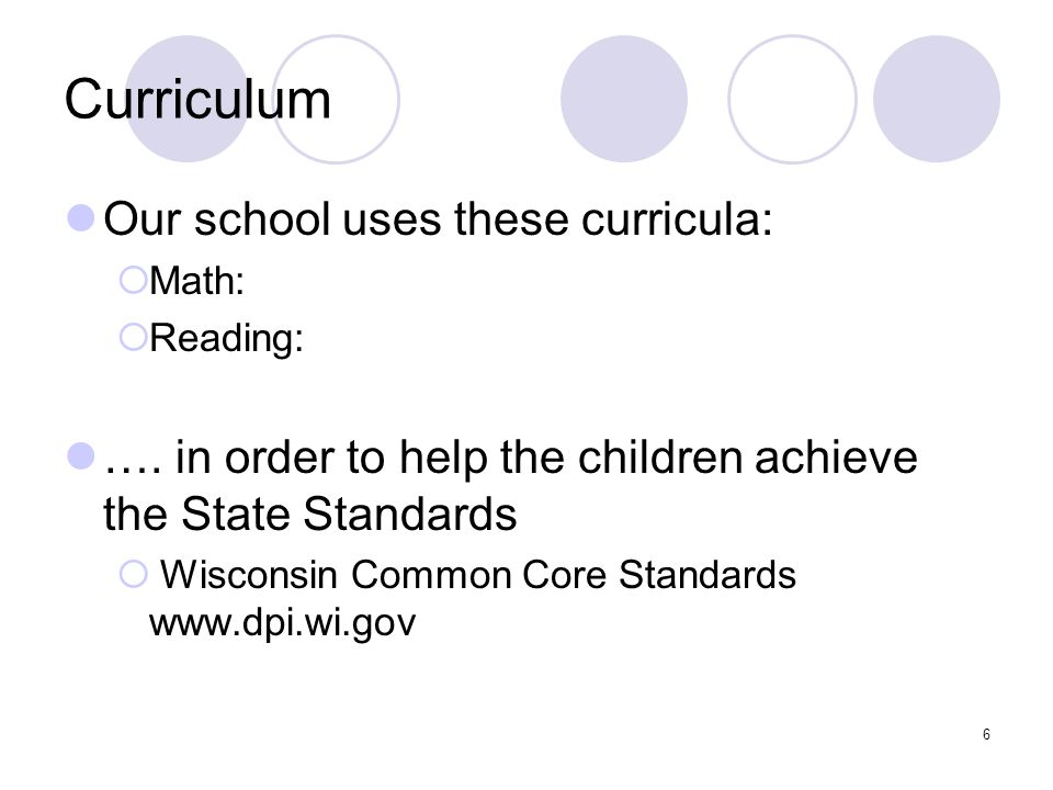 Curriculum Our school uses these curricula:  Math:  Reading: ….