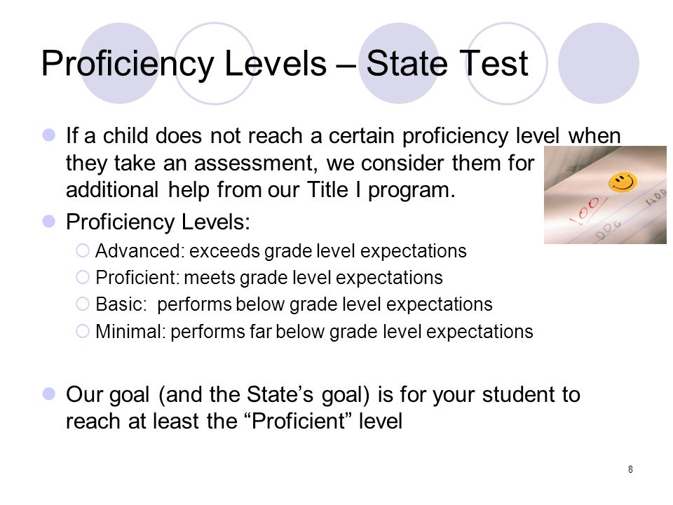 Proficiency Levels – State Test If a child does not reach a certain proficiency level when they take an assessment, we consider them for additional help from our Title I program.