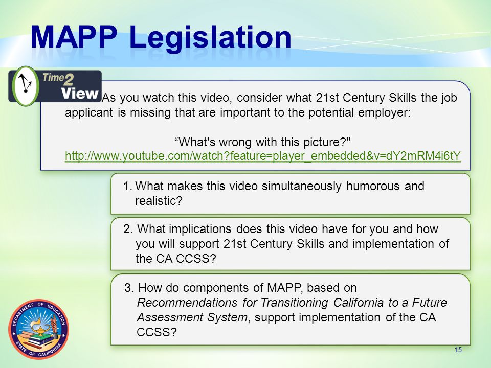 15 As you watch this video, consider what 21st Century Skills the job applicant is missing that are important to the potential employer: What s wrong with this picture http://www.youtube.com/watch feature=player_embedded&v=dY2mRM4i6tY As you watch this video, consider what 21st Century Skills the job applicant is missing that are important to the potential employer: What s wrong with this picture http://www.youtube.com/watch feature=player_embedded&v=dY2mRM4i6tY 1.What makes this video simultaneously humorous and realistic.