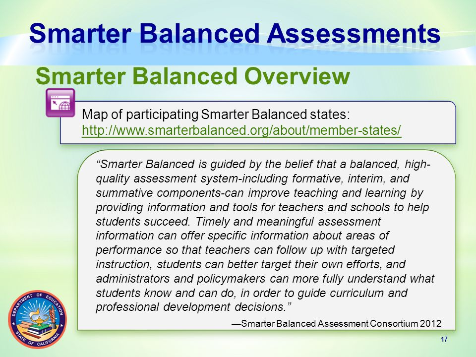 17 Smarter Balanced Overview Map of participating Smarter Balanced states: http://www.smarterbalanced.org/about/member-states/ Map of participating Smarter Balanced states: http://www.smarterbalanced.org/about/member-states/ Smarter Balanced is guided by the belief that a balanced, high- quality assessment system-including formative, interim, and summative components-can improve teaching and learning by providing information and tools for teachers and schools to help students succeed.
