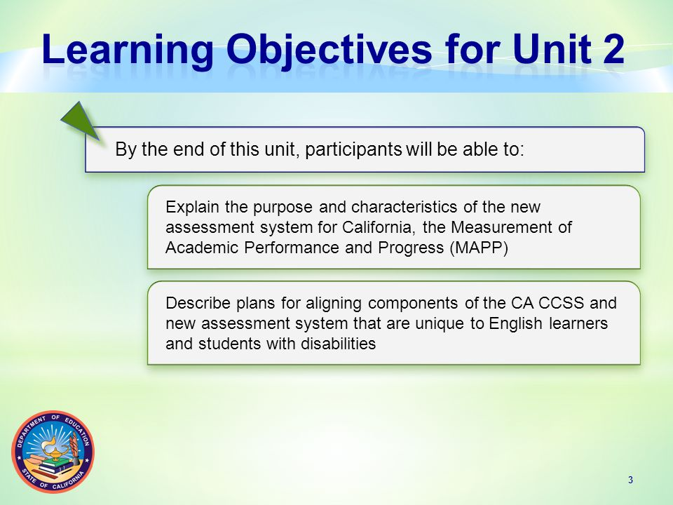 A brief review of California's Standardized Testing and Reporting (STAR) Program (ending in the 2013–14 school year) provides a backdrop for a new CCSS-aligned statewide assessment system.