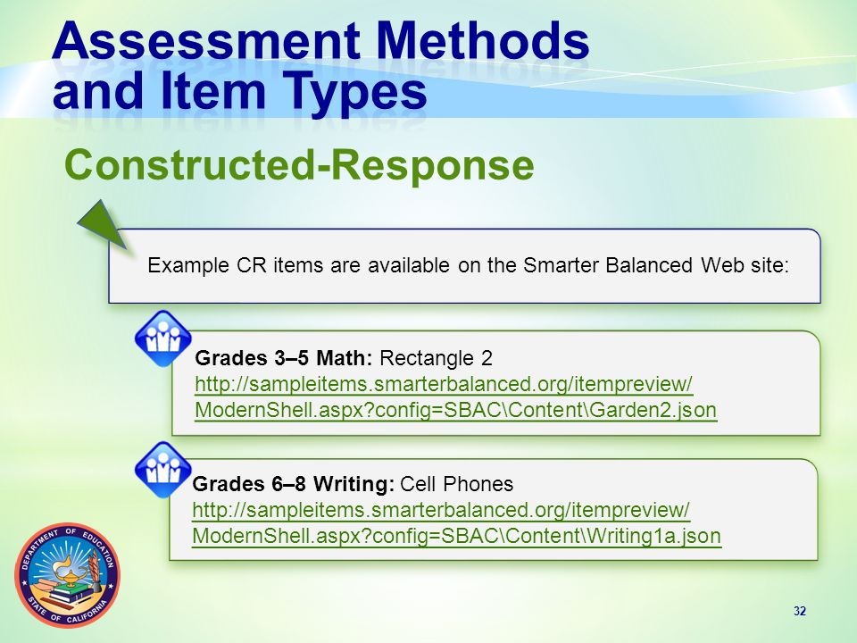 32 Constructed-Response Example CR items are available on the Smarter Balanced Web site: Grades 3–5 Math: Rectangle 2 http://sampleitems.smarterbalanced.org/itempreview/ ModernShell.aspx config=SBAC\Content\Garden2.json Grades 3–5 Math: Rectangle 2 http://sampleitems.smarterbalanced.org/itempreview/ ModernShell.aspx config=SBAC\Content\Garden2.json Grades 6–8 Writing: Cell Phones http://sampleitems.smarterbalanced.org/itempreview/ ModernShell.aspx config=SBAC\Content\Writing1a.json Grades 6–8 Writing: Cell Phones http://sampleitems.smarterbalanced.org/itempreview/ ModernShell.aspx config=SBAC\Content\Writing1a.json