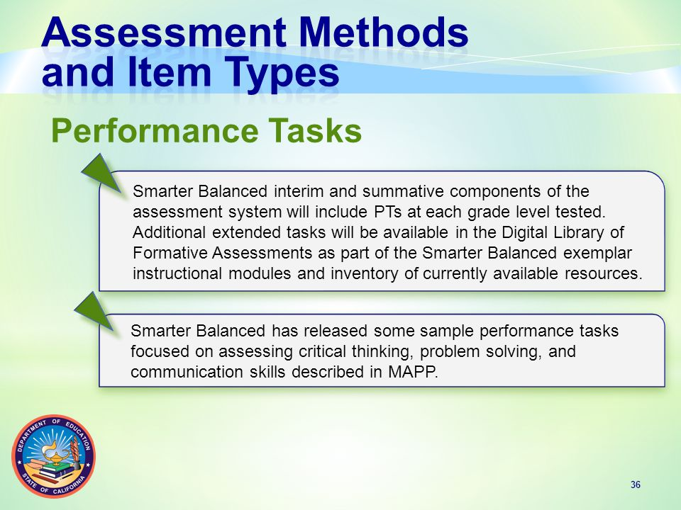 36 Smarter Balanced interim and summative components of the assessment system will include PTs at each grade level tested.