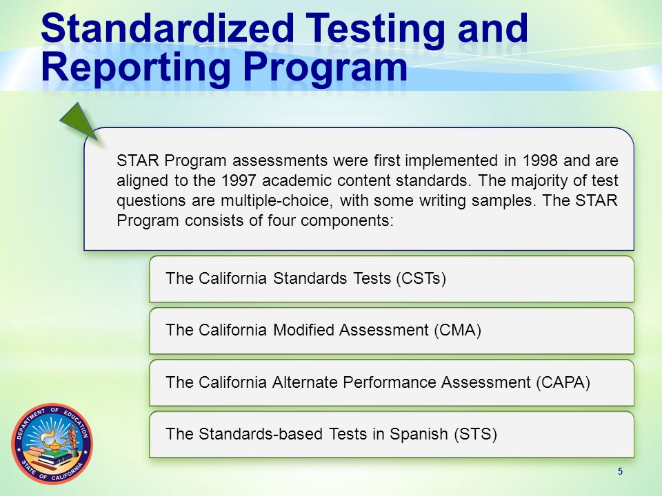 STAR Program assessments were first implemented in 1998 and are aligned to the 1997 academic content standards.