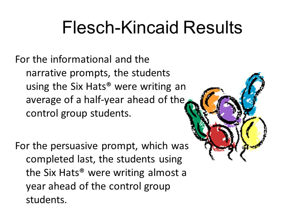 Flesch-Kincaid Results For the informational and the narrative prompts, the students using the Six Hats® were writing an average of a half-year ahead