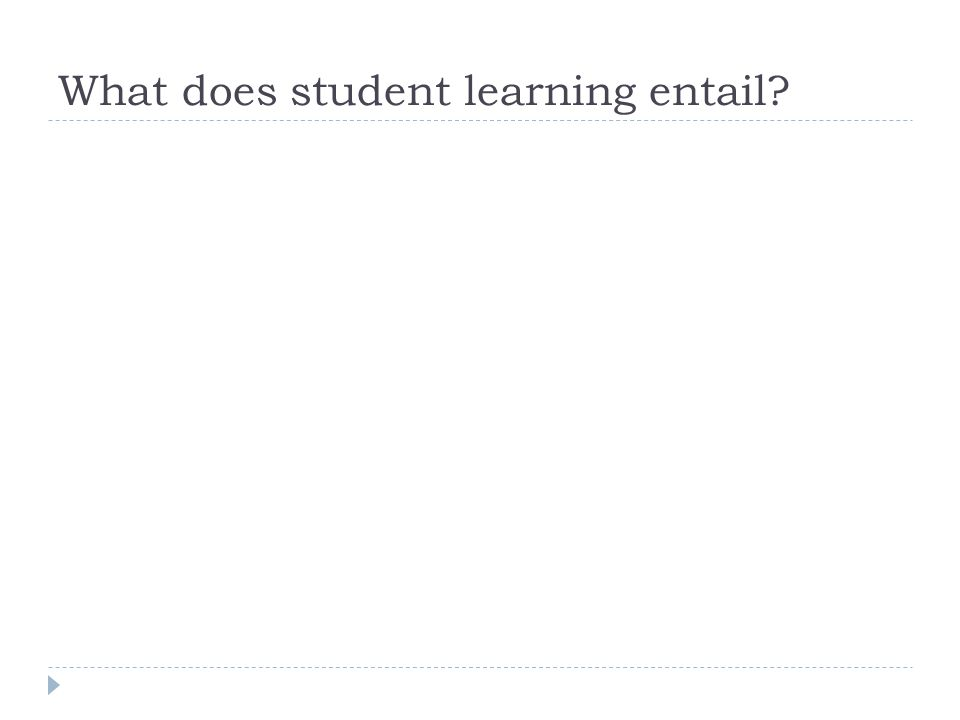 What does student learning entail?
