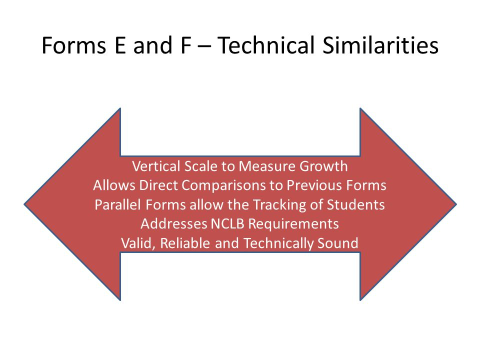 Forms E and F – Technical Similarities Vertical Scale to Measure Growth Allows Direct Comparisons to Previous Forms Parallel Forms allow the Tracking