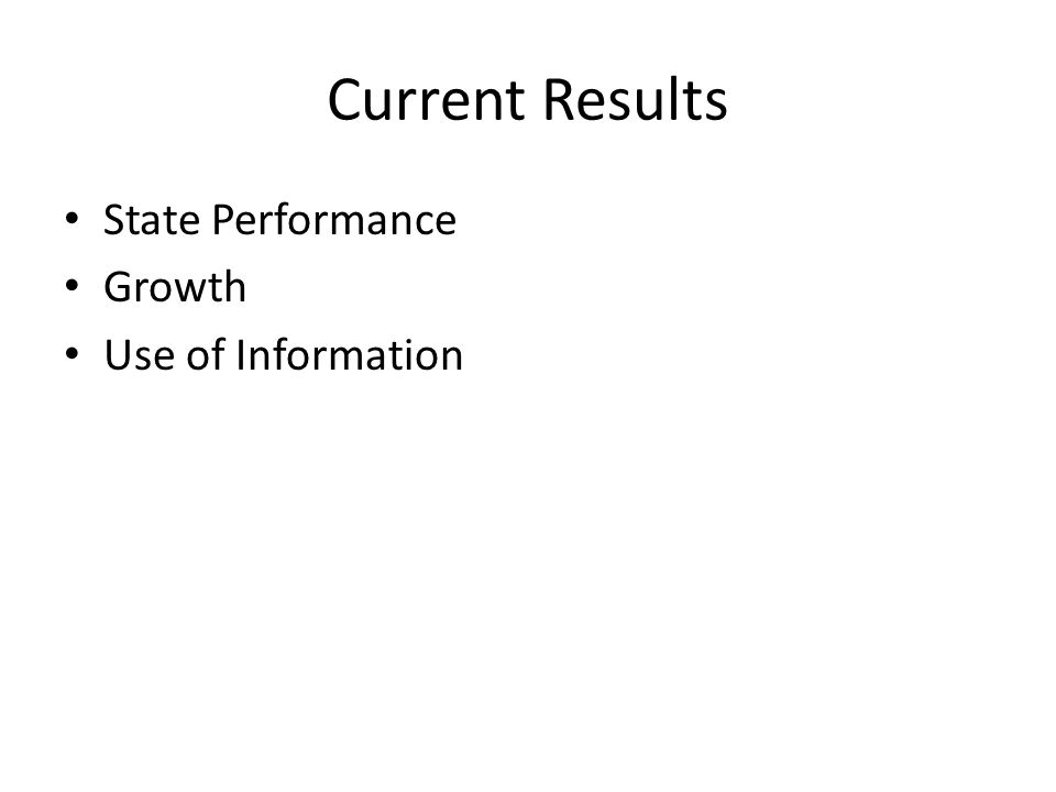 Current Results State Performance Growth Use of Information