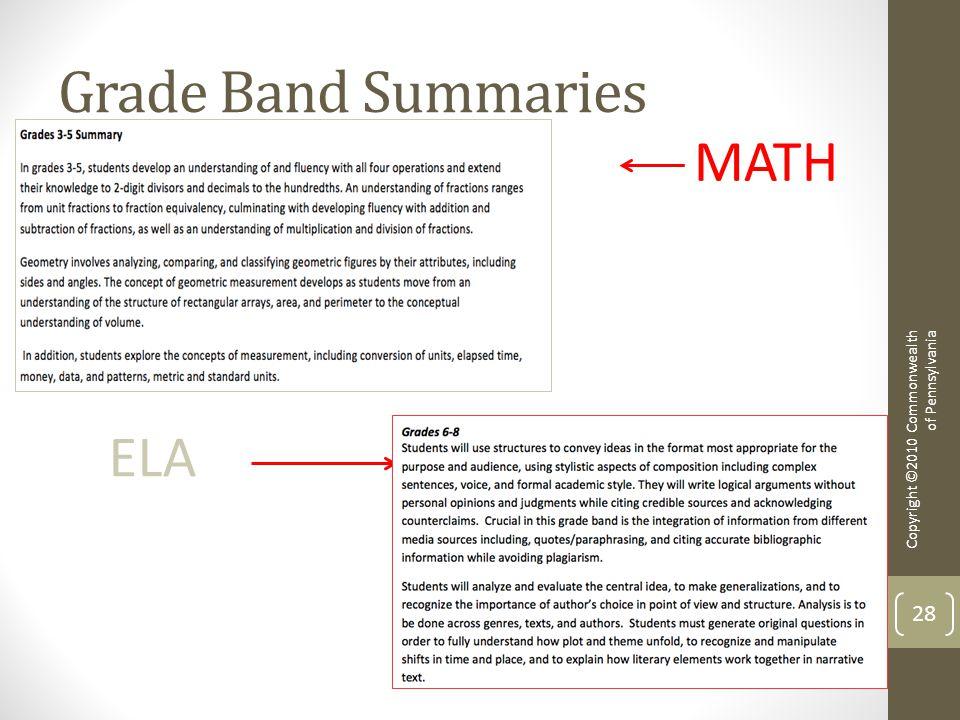 Grade Band Summaries Copyright ©2010 Commonwealth of Pennsylvania 28 MATH ELA