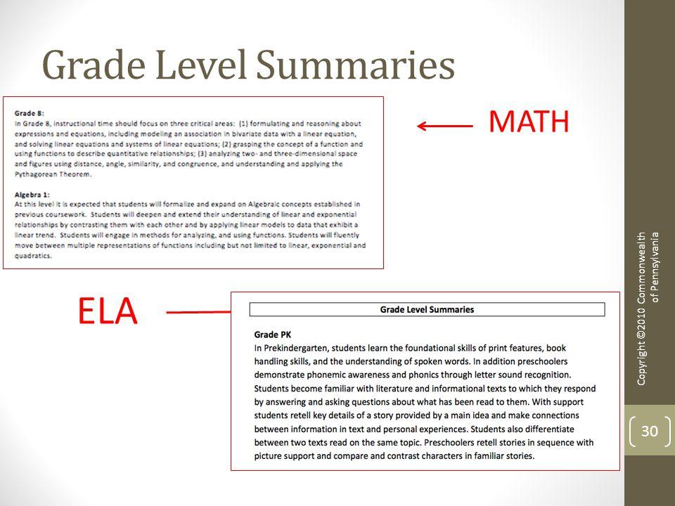 Grade Level Summaries Copyright ©2010 Commonwealth of Pennsylvania 30 MATH ELA